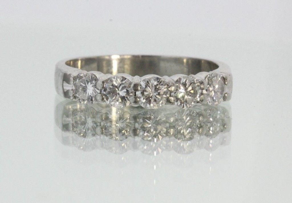 Antique Platinum & 5 Diamond Wedding Band Ring 3/4 CTTW Size 6.25 - Queen May