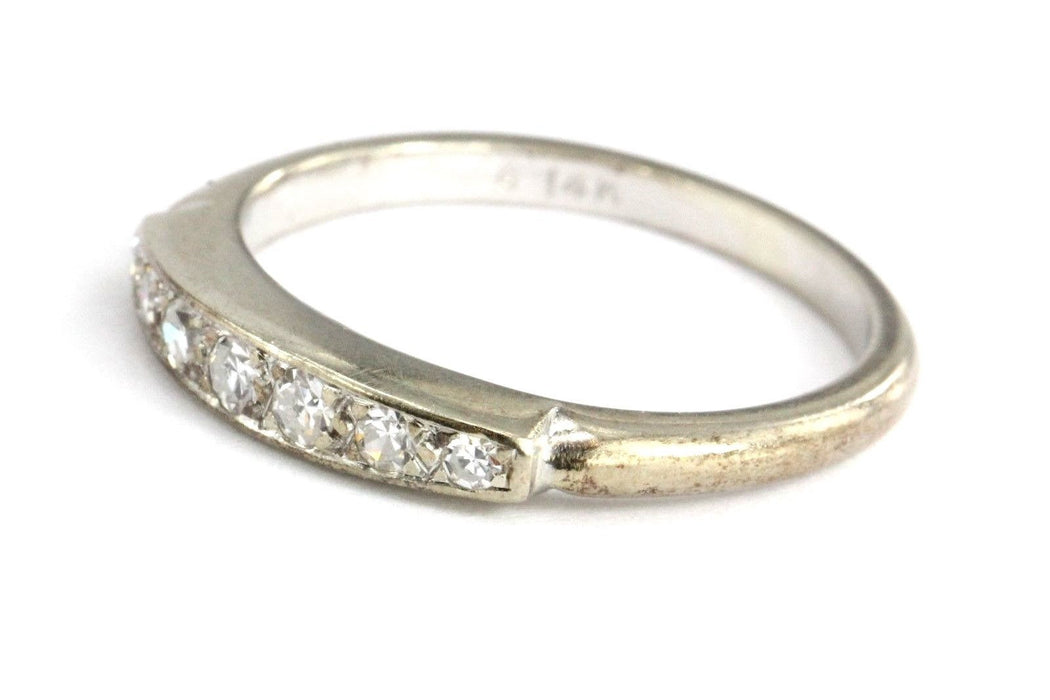 Antique 14K White Gold & Diamond Classic Ring Wedding Band Size 6.75 - Queen May