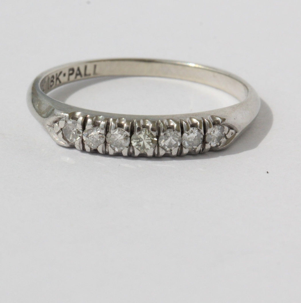 Antique 18K White Gold & Palladium Diamond Wedding Band Ring Signed