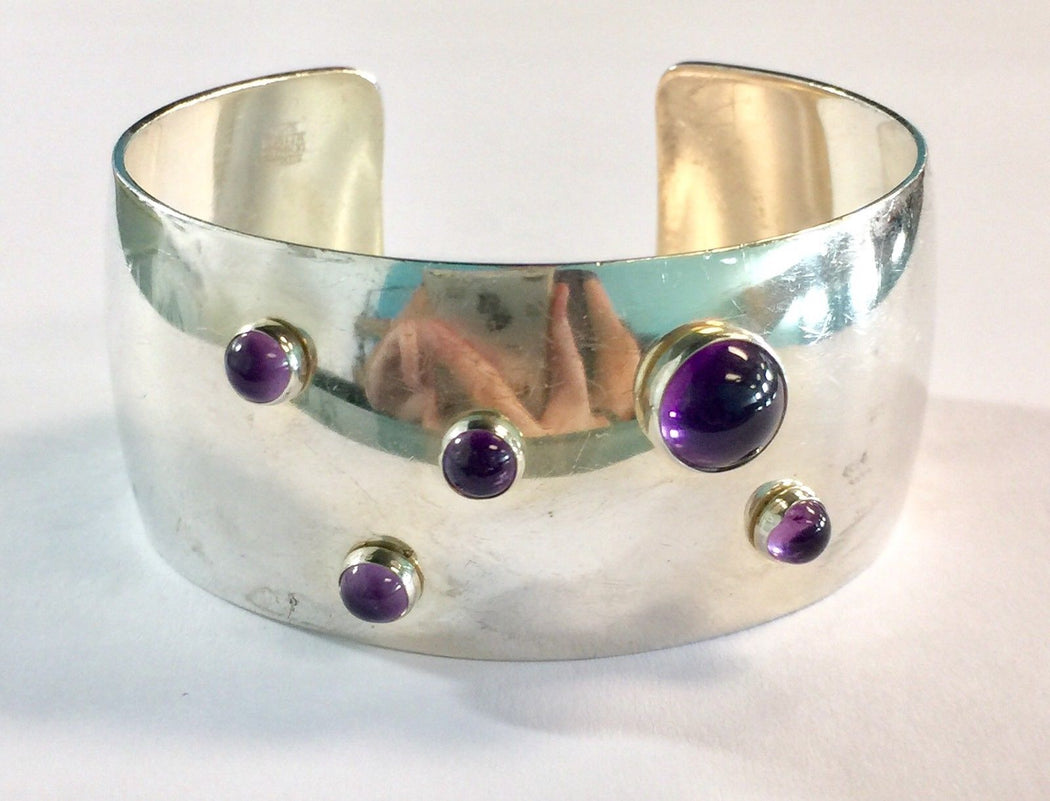 Sterling Silver Amethyst Denmark Wide Chunky Cuff Bracelet N.E.From Erik Nils - Queen May