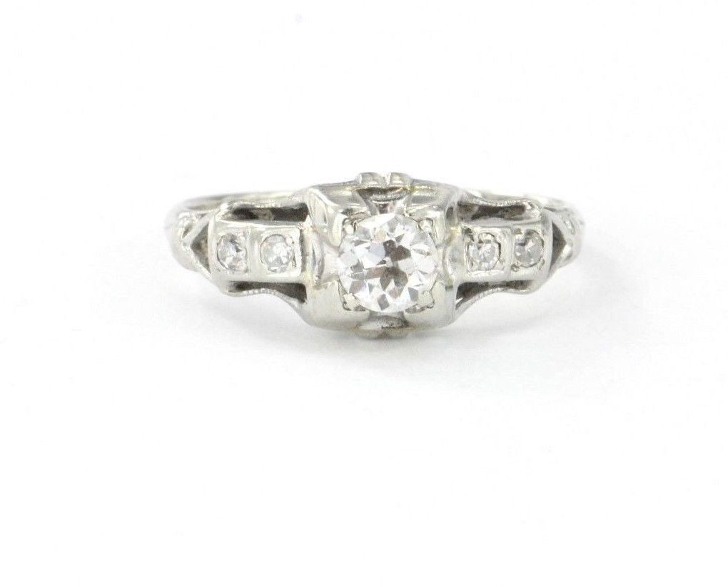 Antique 14K White Gold Art Deco & Old European Diamond Engagement Ring 1/2 CTW - Queen May