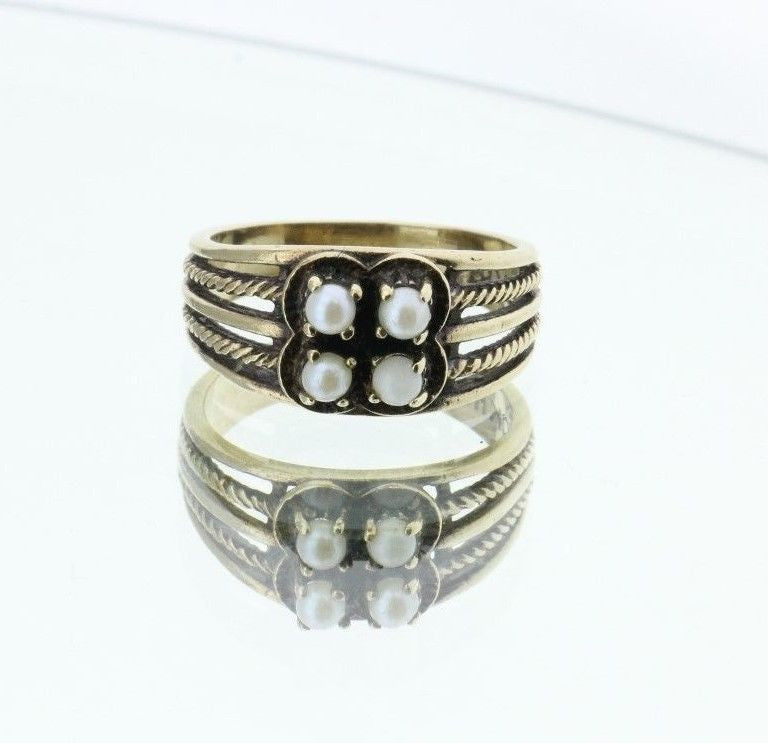 Antique 10K Gold Seed Pearl Ring