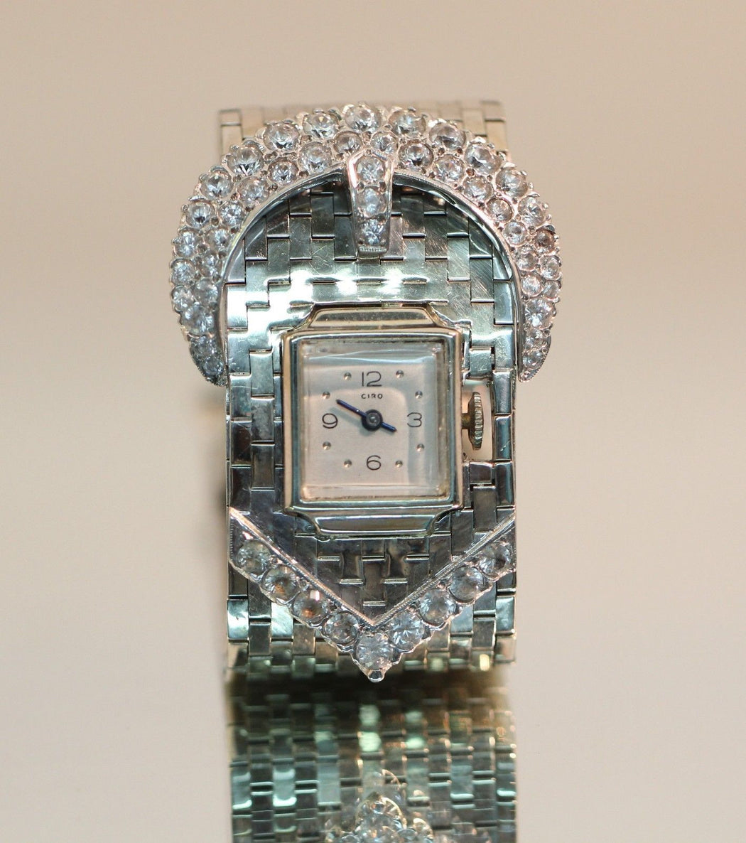 Vintage Heavy 1940's 14K White Gold & White Sapphire Ciro Belt Buckle Watch 5ctw - Queen May