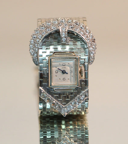 Vintage Heavy 1940's 14K White Gold & White Sapphire Ciro Belt Buckle Watch 5ctw