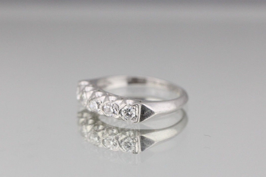 Antique Art Deco Platinum 5 stone 1 Carat Diamond Wedding Band Circa 1920s - Queen May