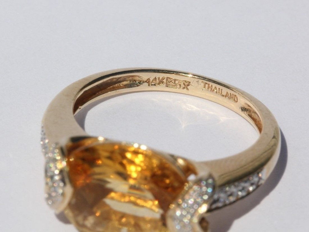 14K Gold 3.5 carat Citrine & Diamond Ring 3.75 TCW - Queen May