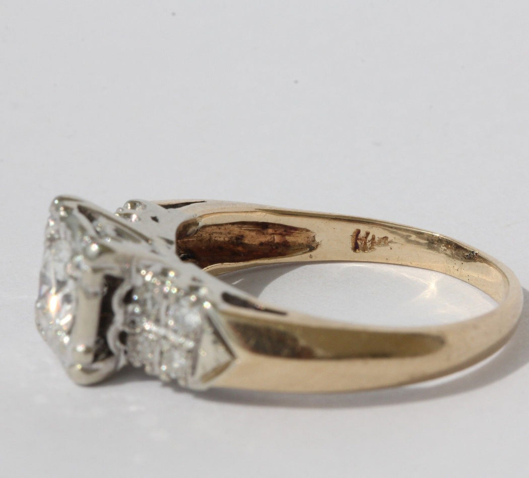 Antique 14K White & Yellow Gold Diamond Cathedral Heart Set Engagement Ring