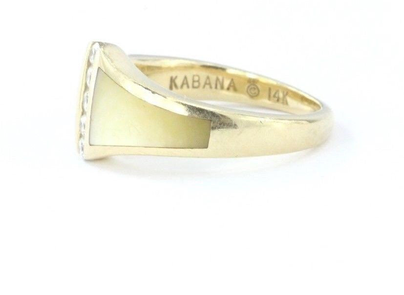 14K Gold Kabana Diamond & Mother of Pearl Signed Ring Size 6.25