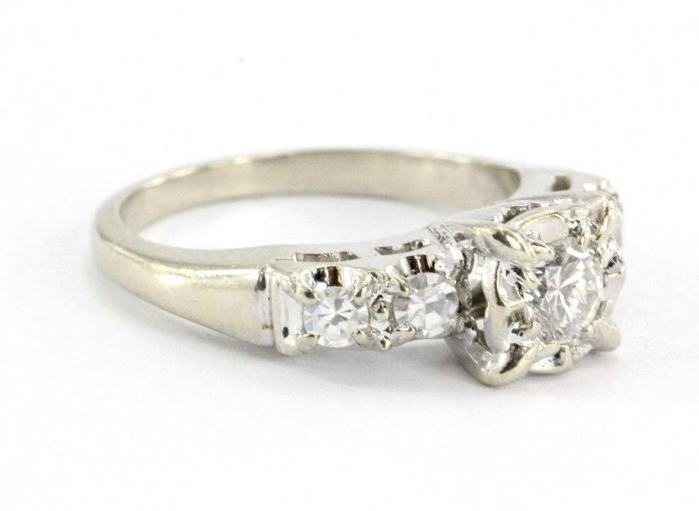 Antique 14K White Gold 1/2 CTTW Ehlers & Co of New York Art Deco Engagement Ring - Queen May