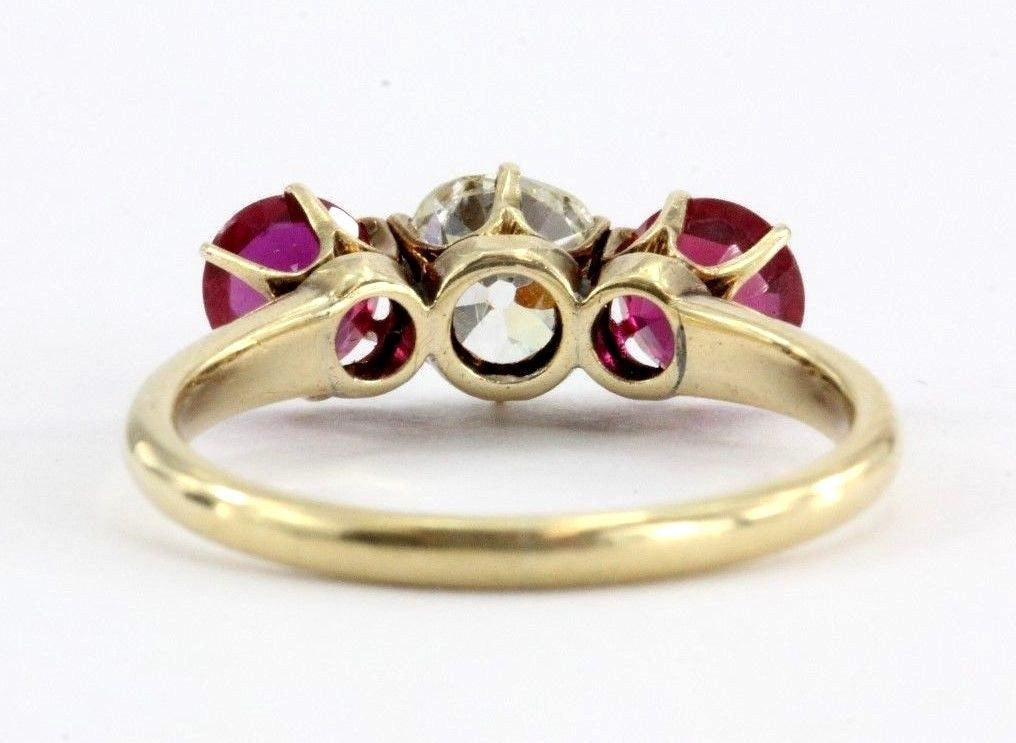 Antique Victorian 14K Gold 1.05 Ct Old Mine Cut Diamond & Ruby Engagement Ring