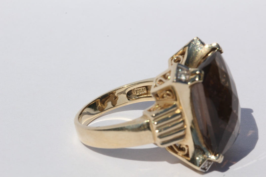 Vintage 14K Gold 1940's Art Deco Smoky Topaz & Diamond Ring Baldwin Miller Co - Queen May