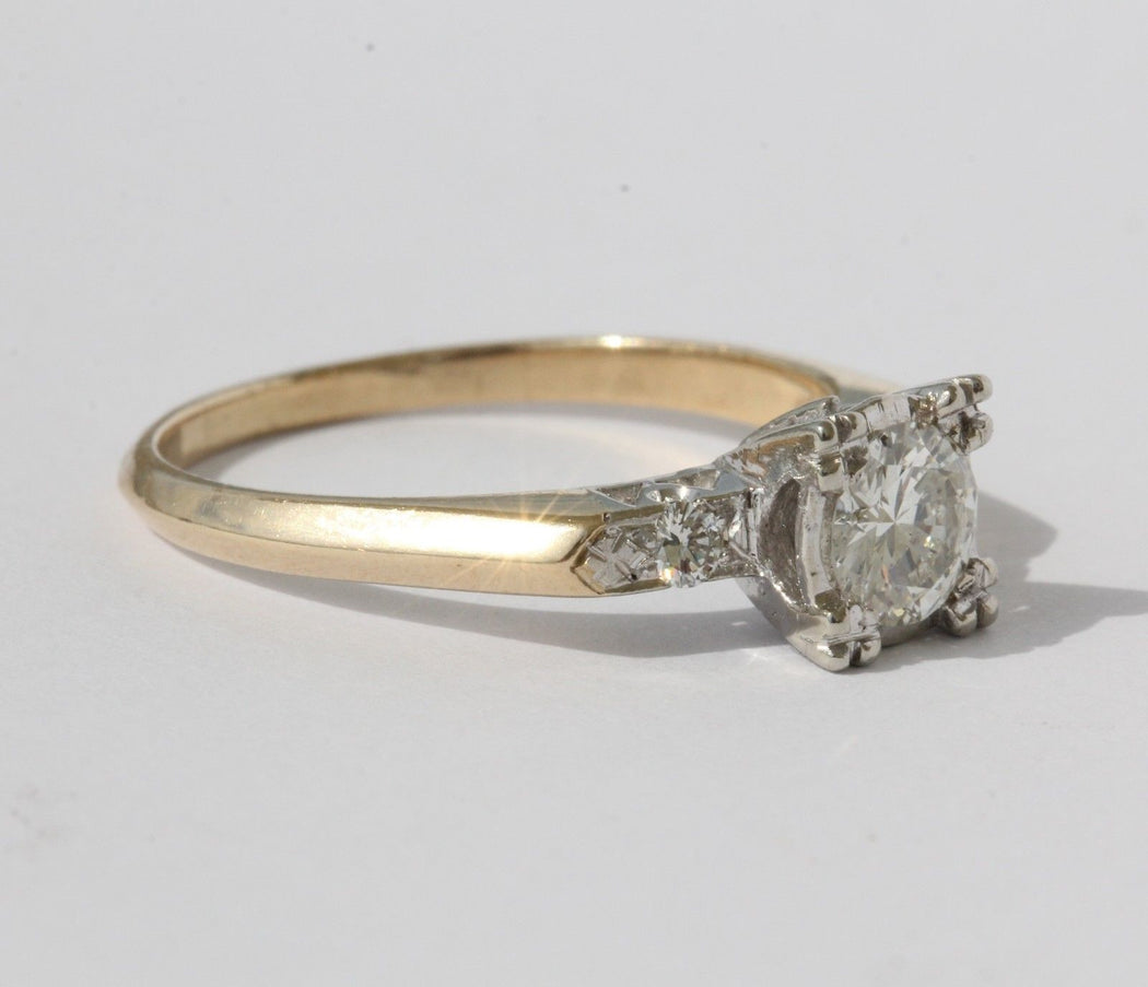 Vintage Retro 14K Yellow and White Gold Diamond Engagement Ring - Queen May