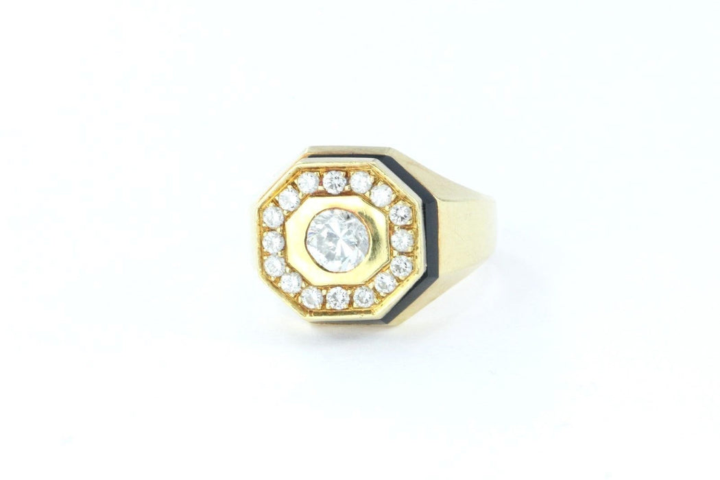 Vintage Art Deco 18K Gold Diamond & Onyx Signet Ring by Lipp & Co - Queen May