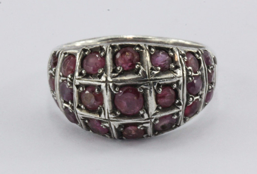 Vintage Art Deco Sterling Silver & Ruby Ring - Queen May