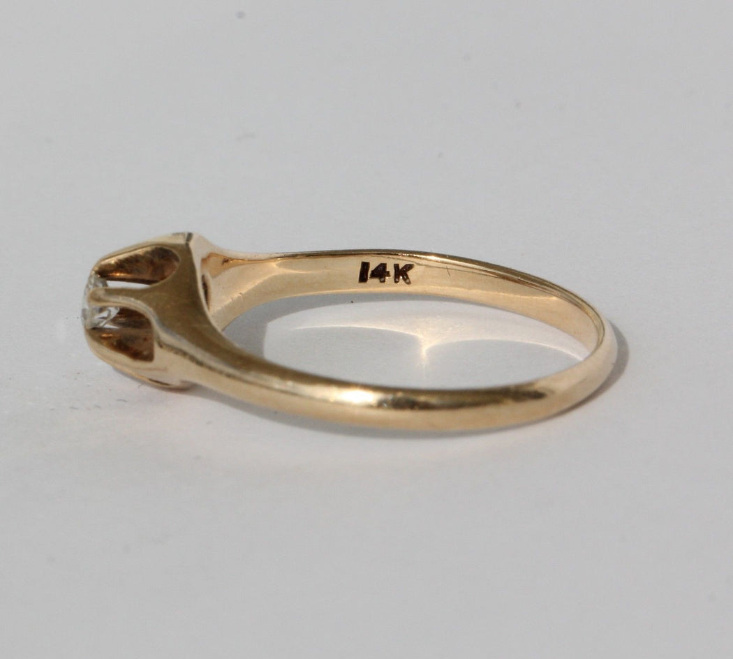 Antique 14K Gold Belcher Mount Diamond Engagement Ring Size 7 - Queen May