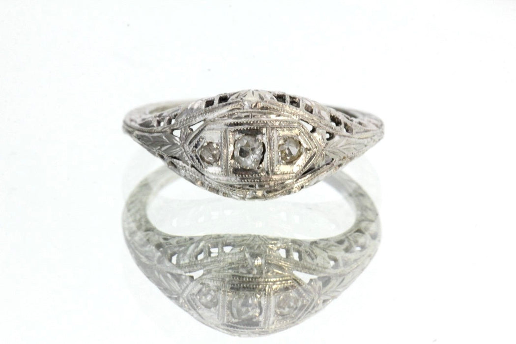 Antique Art Deco 18K White Gold & Hand Cut Diamond Engagement Ring Size 5.25 - Queen May