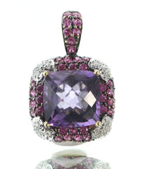 Le Vian 18k Gold Amethyst, Diamond & Pink Sapphire Pendant 6 Carats Total Weight