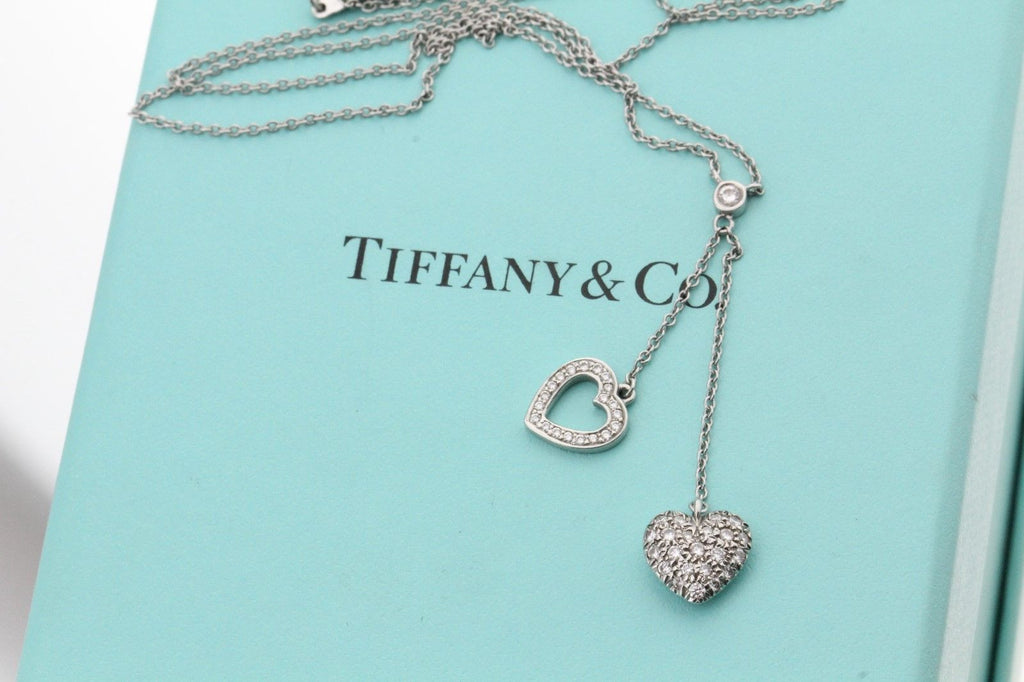 Tiffany Amp Co Platinum Pave Diamond Double Heart Pendant Necklace Queen May