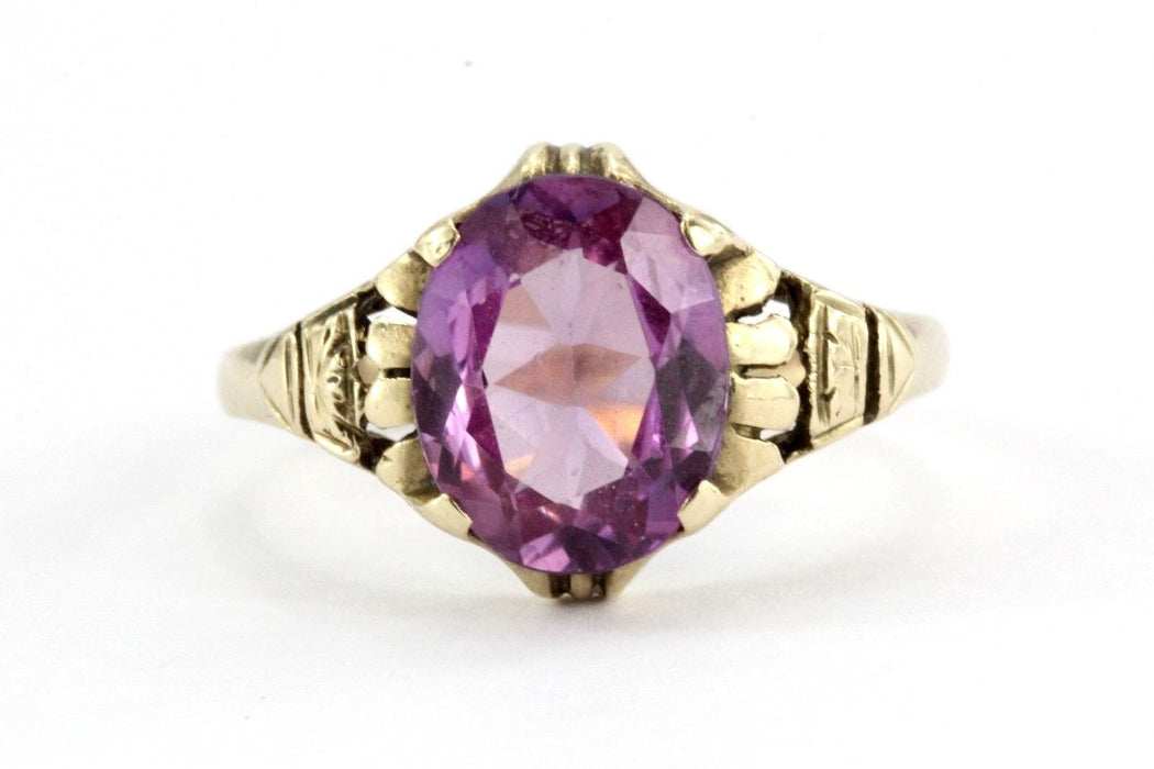 Antique 10K Gold Art Deco Pink Sapphire Ring by Edward R. Roehm of Detroit