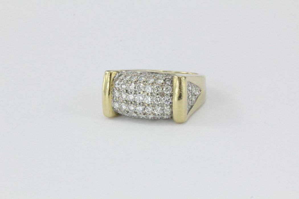 14K Gold 2 CTTW Pave Set Chunky Heavy Ring - Queen May