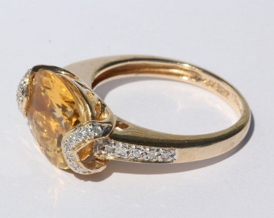 14K Gold 3.5 carat Citrine & Diamond Ring 3.75 TCW