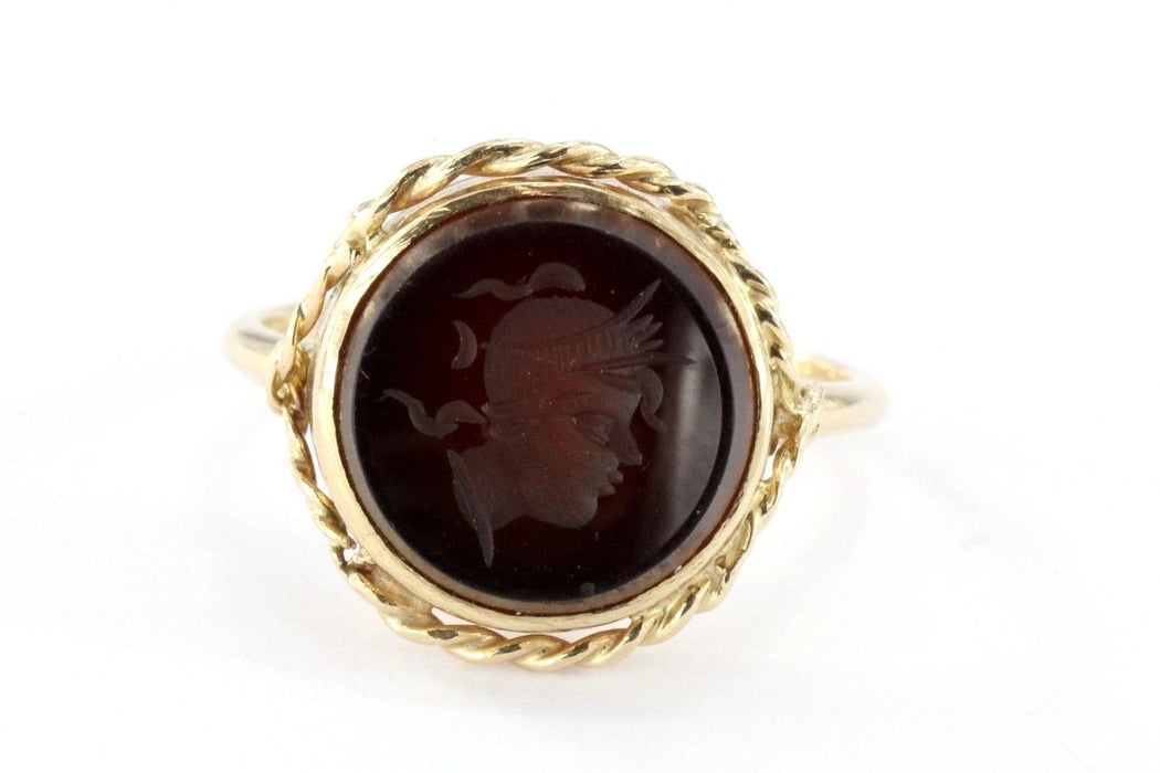 Vintage 14K Gold Carnelian Intaglio Warrior Soldier Cameo Rope Border Ring - Queen May