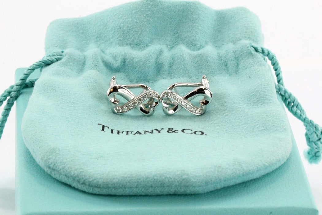 Tiffany & Co 18K White Gold Diamond Double Loving Heart Earrings Paloma Piccaso - Queen May