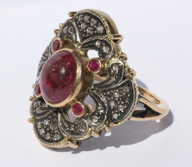 Custom Made Victorian Revival 18K Gold Pink Tourmaline, Diamond & Ruby Ring - Queen May