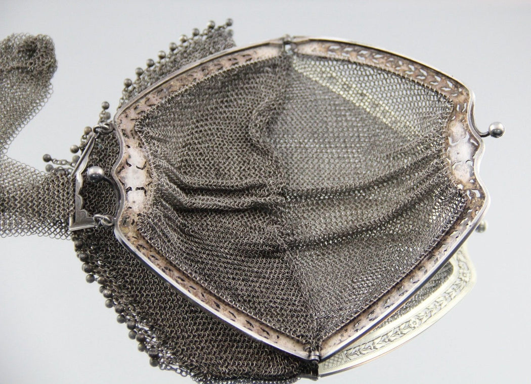 Antique Solid Continental Silver Large Mesh Flapper Purse - Queen May