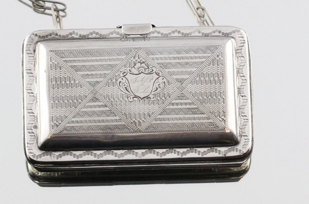 Antique coin silver coin purse with hand chased decoration - Queen May