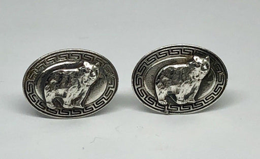 Charles M. Robbins Co Sterling Silver California Grizzly Bear Cufflinks c.1910 - Queen May