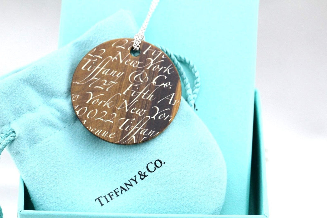 Tiffany & Co. Tigers Eye Note Pendant Sterling Silver Necklace
