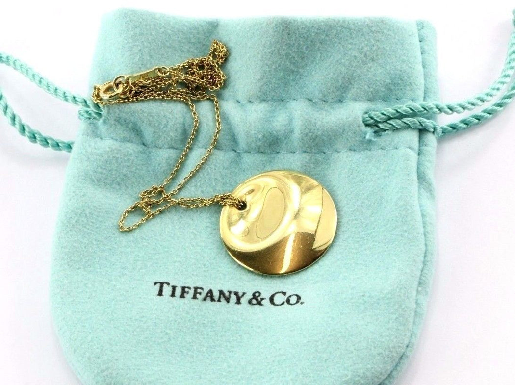b96636c6d Tiffany & Co Elsa Peretti 18k 750 Yellow Gold Round Pendant Necklace -  Queen ...