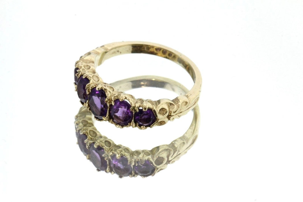 Vintage 9ct Gold London England Amethyst dated 2007 Ring, Victorian Style