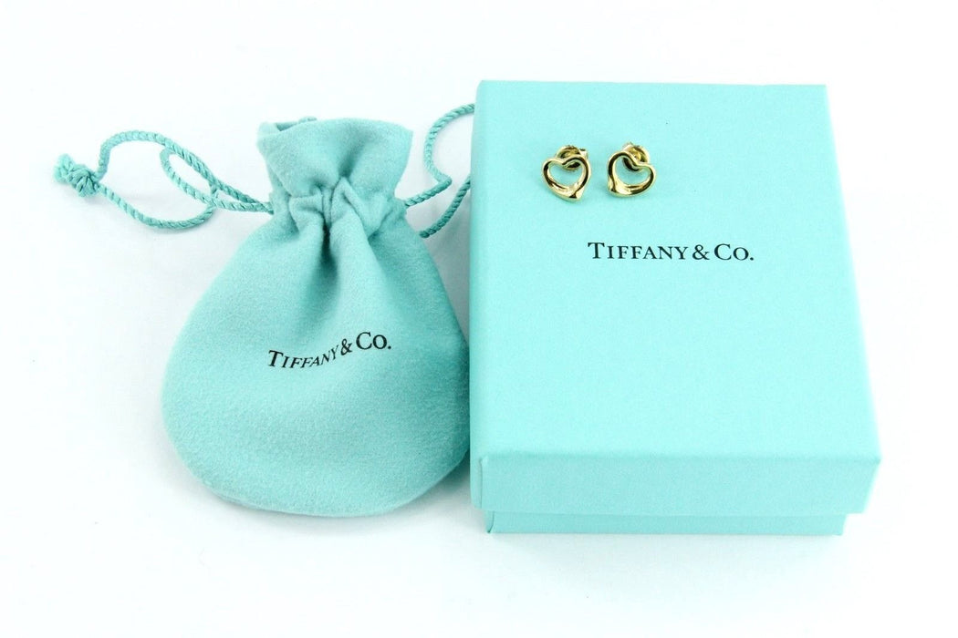 Tiffany & Co 18K Gold Elsa Peretti Open Heart Earring Studs w/ Pouch & Box - Queen May
