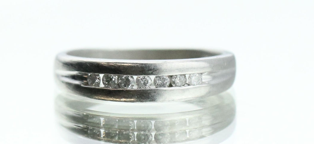 Vintage Platinum & Diamond Half Eternity Engagement Band / Ring - Queen May