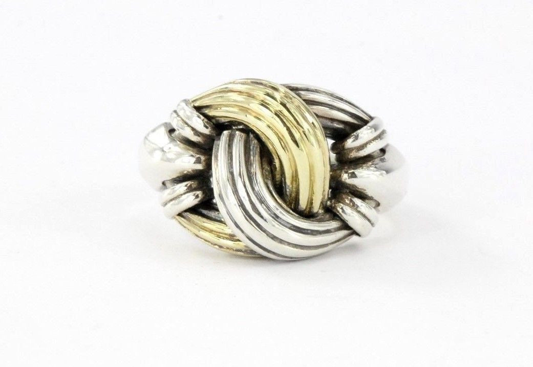 Vintage Sterling Silver & 18K Gold Lagos Medium Classic Knot Ring Size 7.75 - Queen May