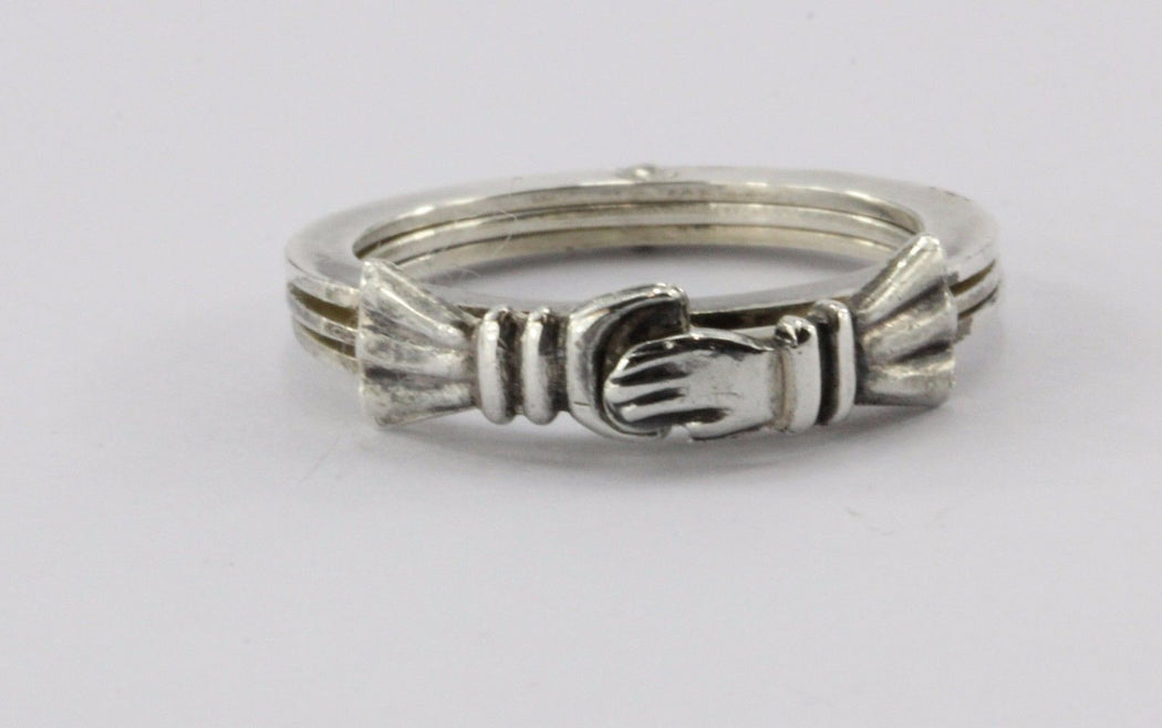 Antique Sterling Silver & 14K Gold Fede Gimmel Ring - Queen May