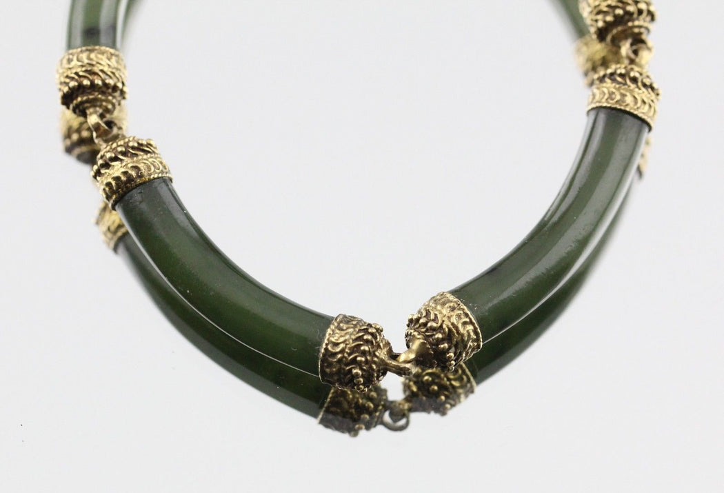 Antique 14K Gold Hand Made Dark Green Jadeite Jade Link Bracelet Signed - Queen May