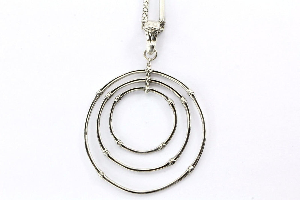 "John Hardy Sterling Silver Bamboo Triple Circle Pendant 36"" Sautior Necklace - Queen May"