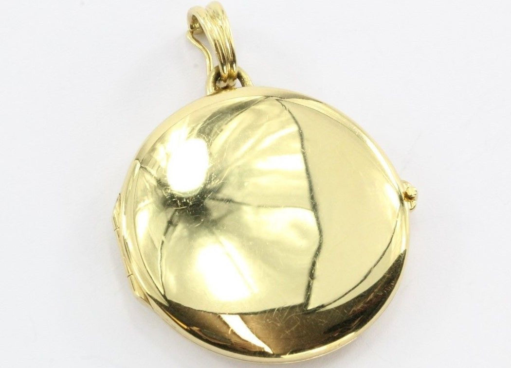 d7fbfe6a6 ... Vintage Tiffany & Co 18K Gold 750 Round Locket Pendant NO MONOGRAM -  Queen ...