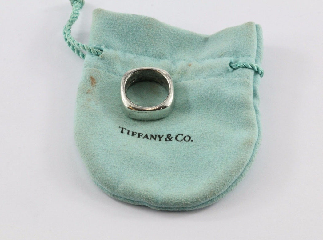 2811c399d Tiffany & Co Sterling Silver Square Cushion Ring Band Size 6.25 - Queen ...