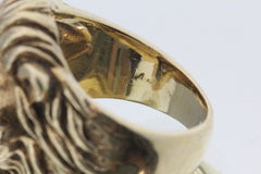 Large Heavy 14K Gold & Diamond Lion Face Ring .30 Carats Total