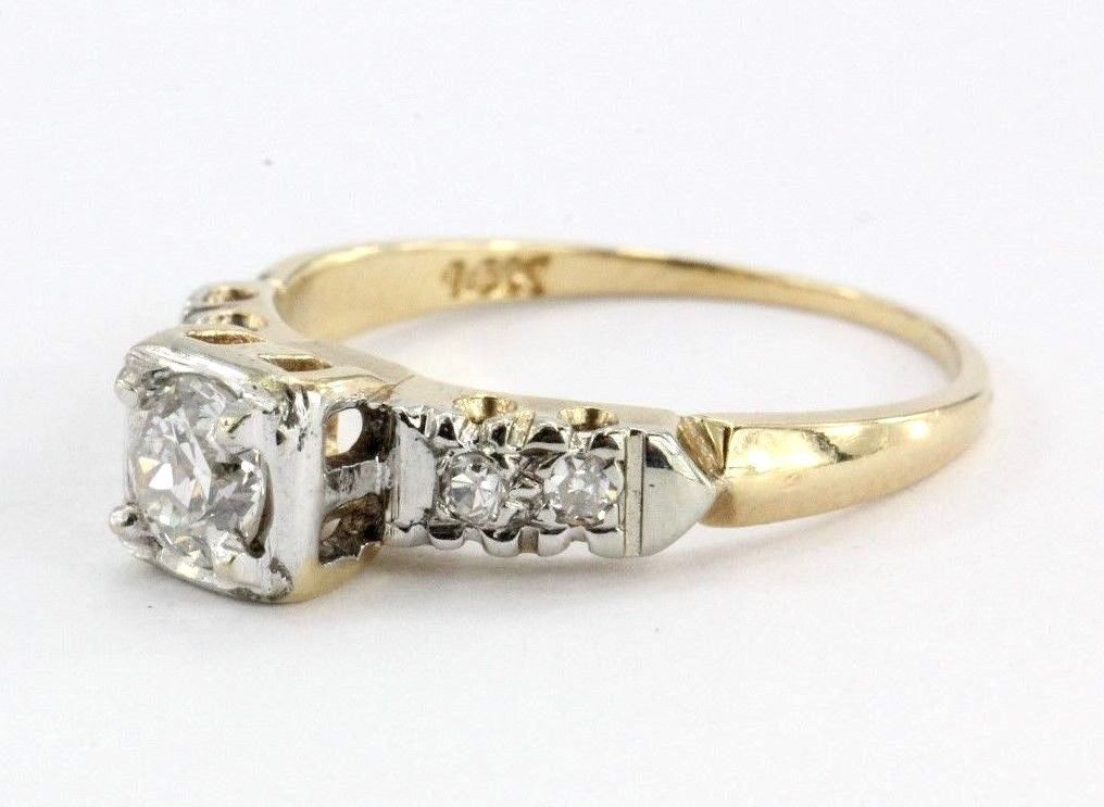 Antique 14K Gold Cathedral Set Old European Cut Diamond Engagement Ring - Queen May