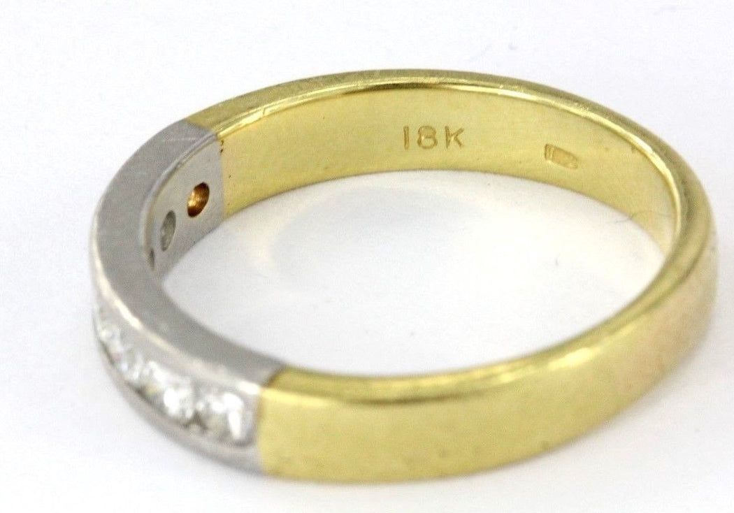 Unique Vintage Mixed Metal Platinum & 18k Gold 1/2 Carat Diamond Wedding Band Ring - Queen May