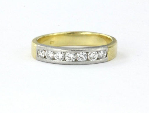 Unique Vintage Mixed Metal Platinum & 18k Gold 1/2 Carat Diamond Wedding Band Ring