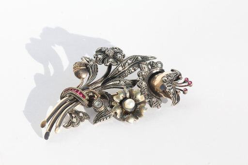 Vintage Portuguese Mixed Metal 9kt Gold & Silver Diamond Ruby & Pearl Brooch Pin - Queen May