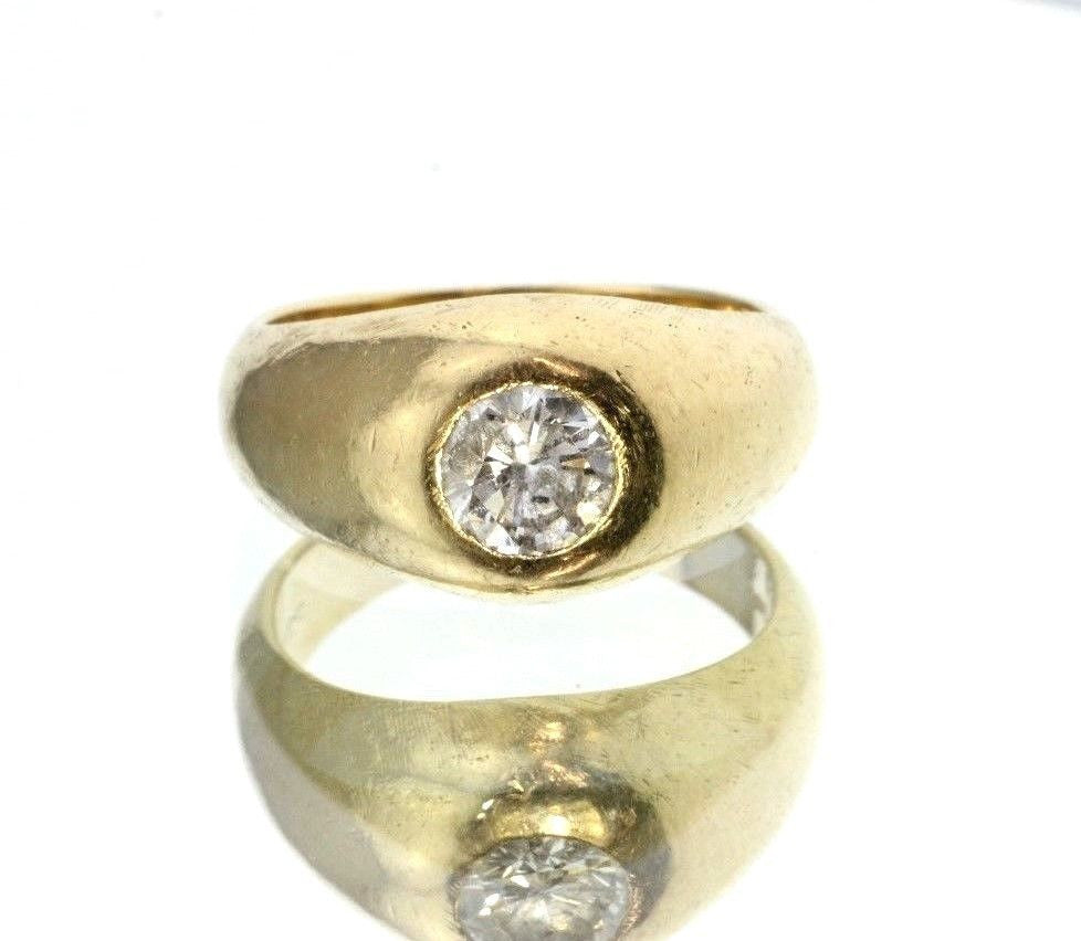Antique 14K Gold Diamond Gypsy Ring by Weinrich Bros - Queen May