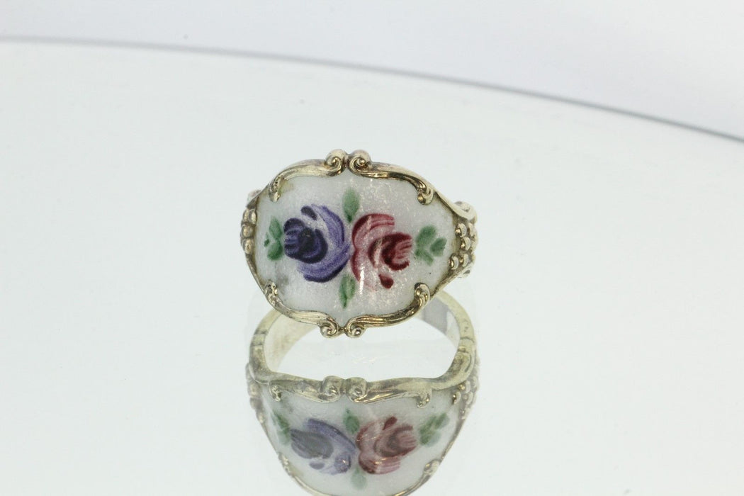 Vintage Sterling Silver & Enamel Clark & Coombs Floral Gold Washed Ring - Queen May