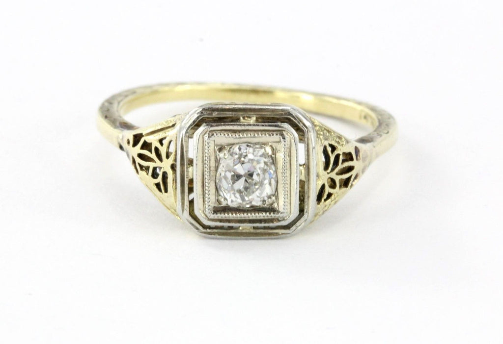 Antique Art Nouveau 14K Gold Old Mine Cut Diamond Engagement Ring
